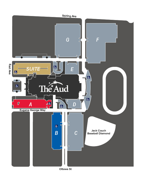 The Aud_parkingmap_areasforparking_if you require this map in a different format, call 519-741-2200