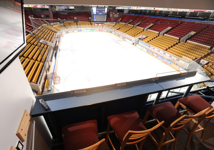 Luxury Suite box at The Aud overlooking arena ice